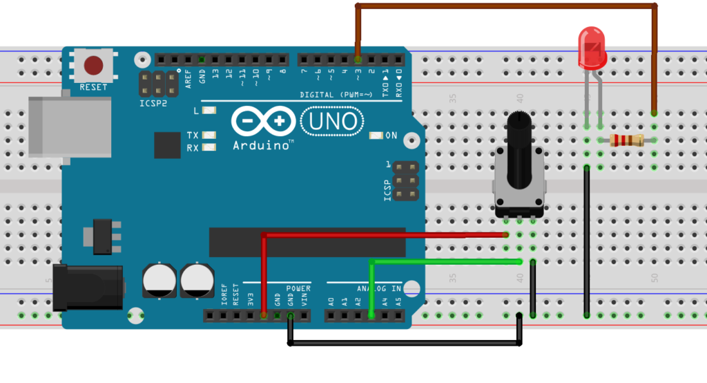 Led Brightness using Analog (potentiometer) Arduino