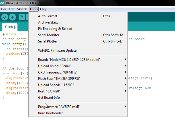 Setting in Arduino IDE