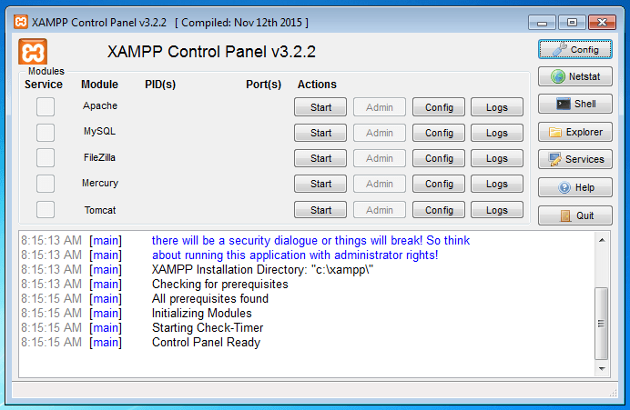 Control Panel of Xampp A. Click Apache Front Side Start B. Then Click MySql Front Side Start