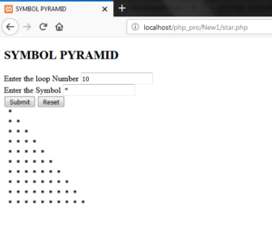 Making Pyramid Star Pattern in Php
