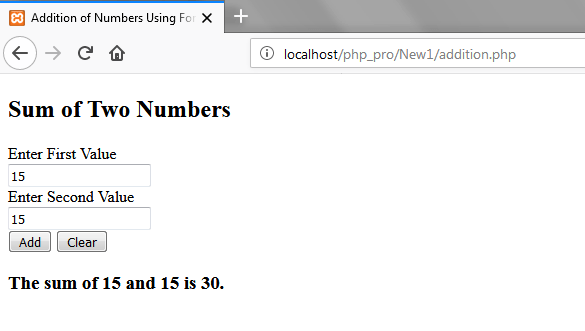 Addition of two Numbers in PHP Forms