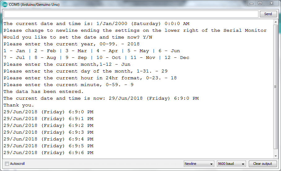 RTC Setting Using library