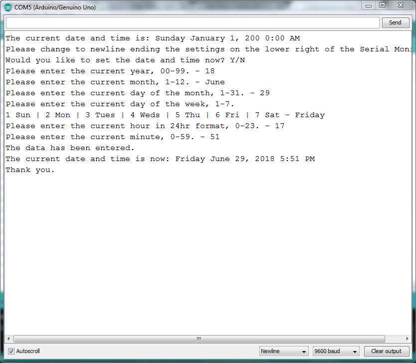RTC Setting Without Library
